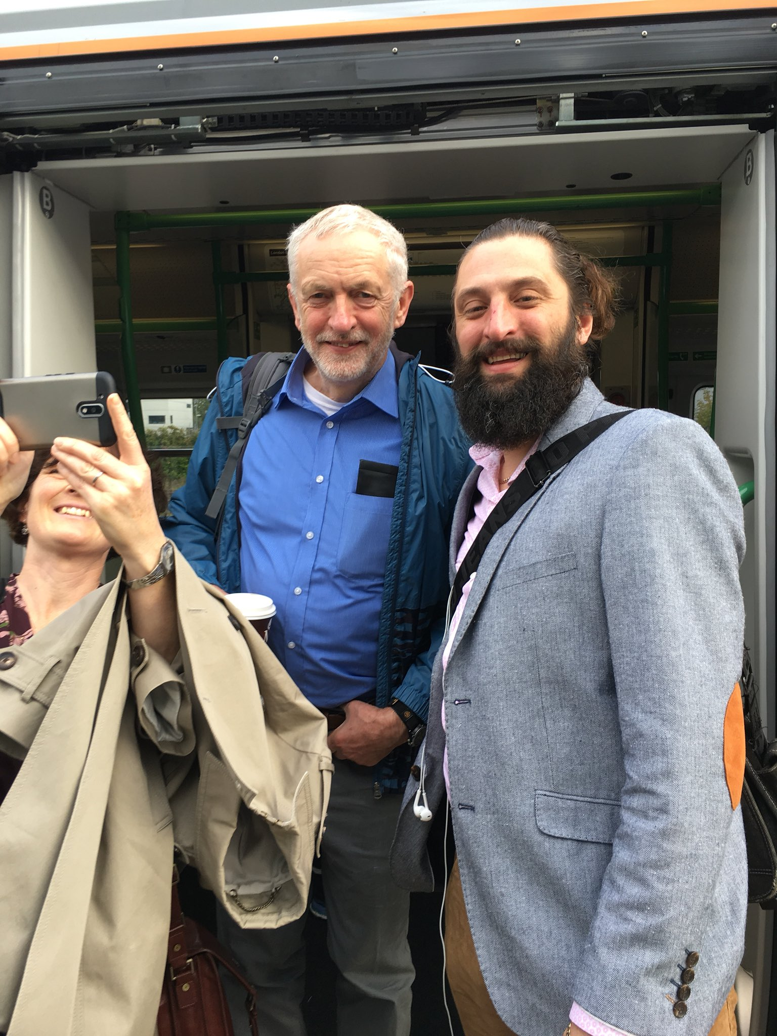 Anton and Jeremy Corbyn at Cambridge Station